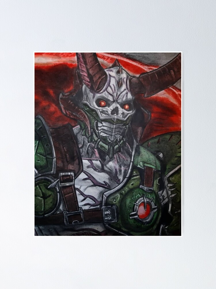 Doom Eternal Demon The Marauder Pencil Art Drawing Poster By Jo Style Arts Redbubble