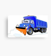 Blue Snow Plow Cartoon Dump Truck Canvas Print