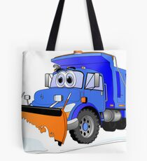 Blue Snow Plow Cartoon Dump Truck Tote Bag
