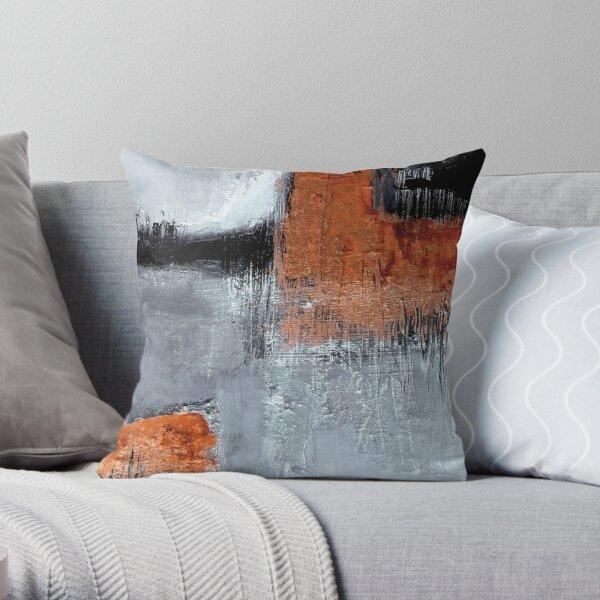 Black orange abstract Throw Pillow