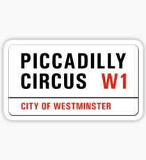 Piccadilly Circus, London Street Sign, UK Sticker