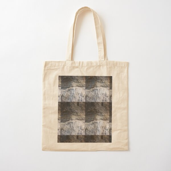 Cliff, black grey and white, Milos (vertical) Cotton Tote Bag