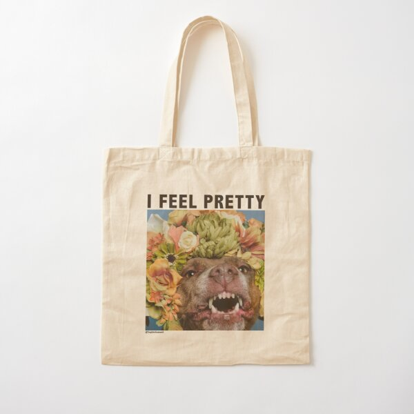 I feel pretty (Topaz smiling) with text Cotton Tote Bag