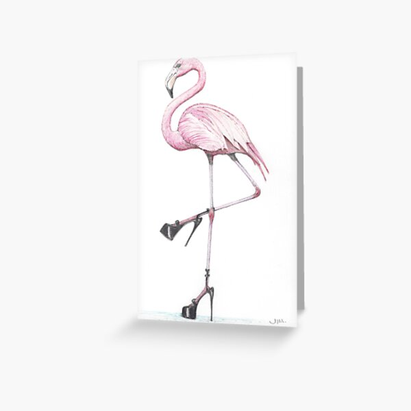 flamingo in stilettos Greeting Card