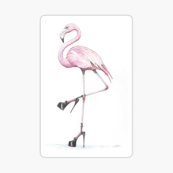 flamingo in stilettos Sticker