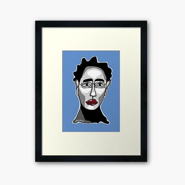 Blue Man Glasses Framed Art Print