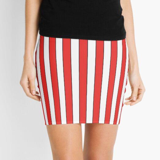 RED BLACK WHITE VERTICAL STRIPE Mini Skirt