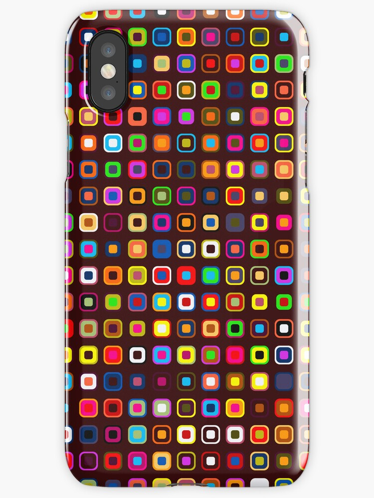 Retro Squares - Brown [iPhone case] by Didi Bingham