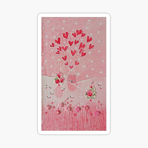 Sending love Miss You Send a Hug & LOVE pink love heart home house cottage Happy Sticker