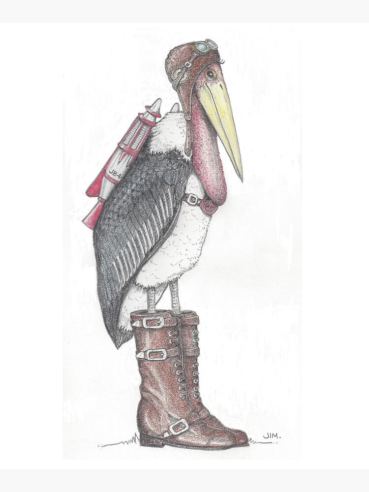 Steampunk stork in buckle boots by JimsBirds