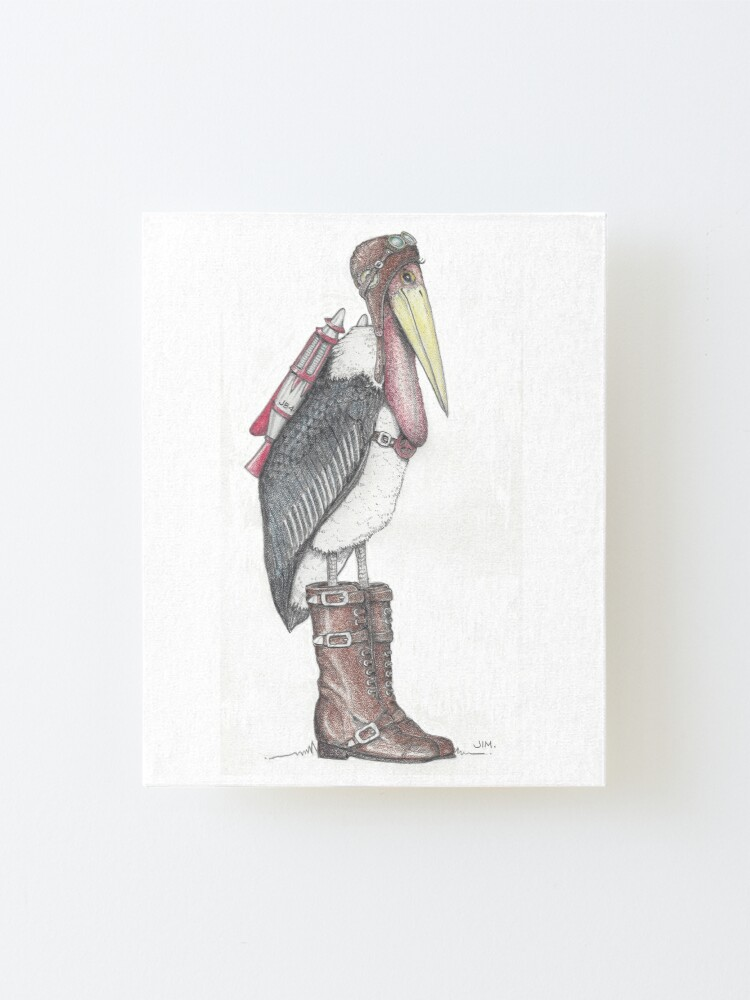 Alternate view of Steampunk stork in buckle boots Mounted Print