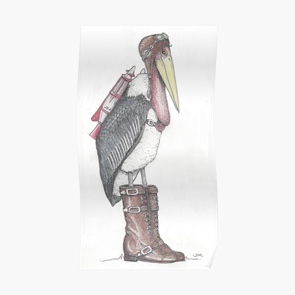 Steampunk stork in buckle boots Poster