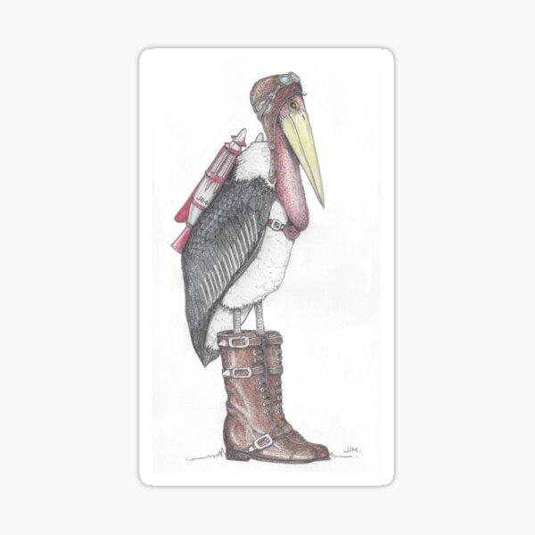 Steampunk stork in buckle boots Sticker