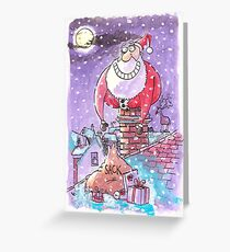Father Christmas chimney card Greeting Card