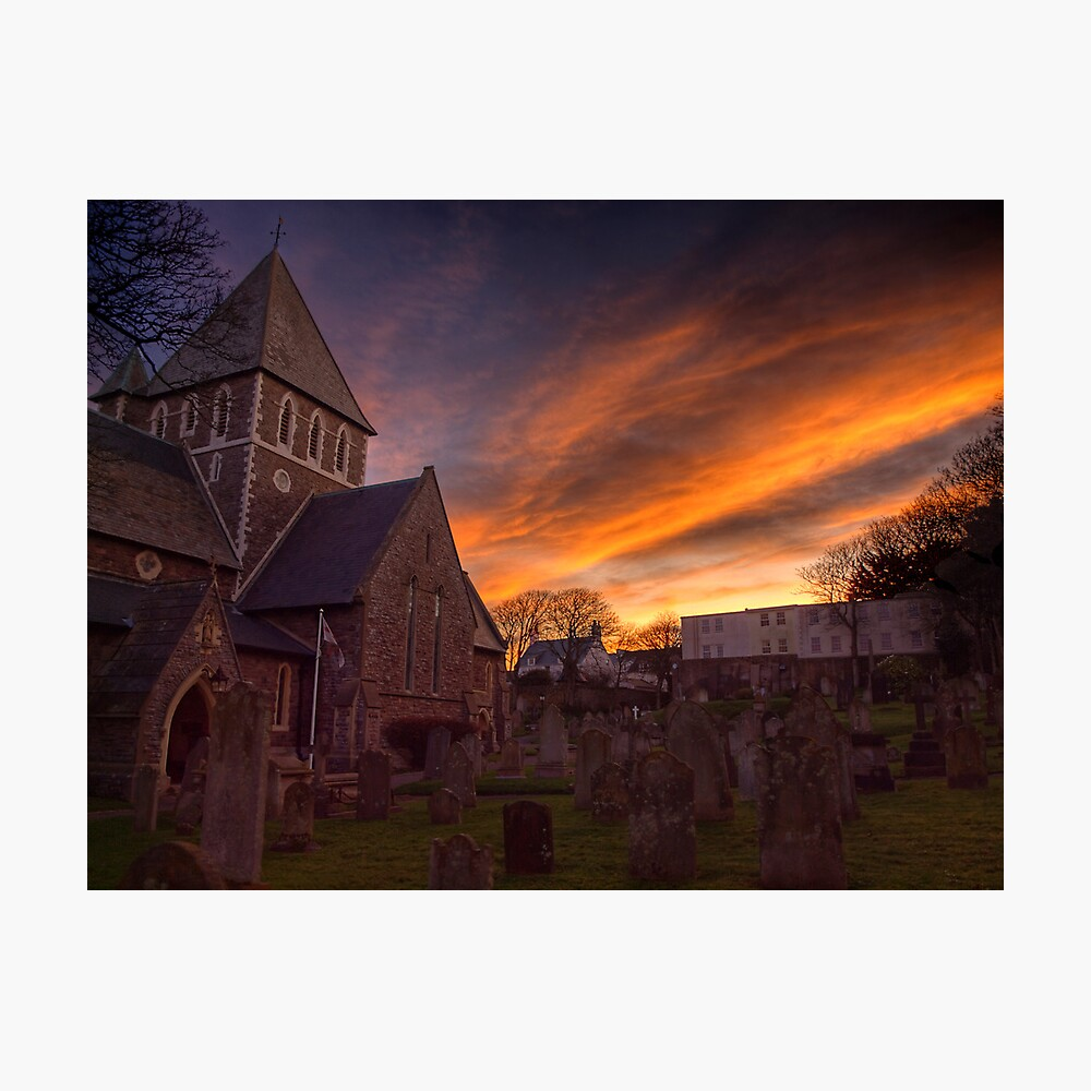 Sunrise over the Church in St.Anne on Alderney Photographic Print