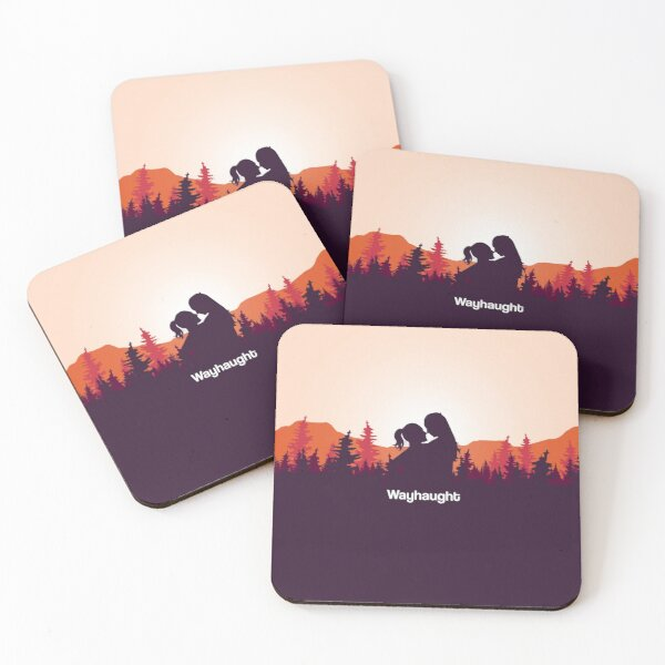 WayHaught Forest Sunset Silhouette Coasters (Set of 4)