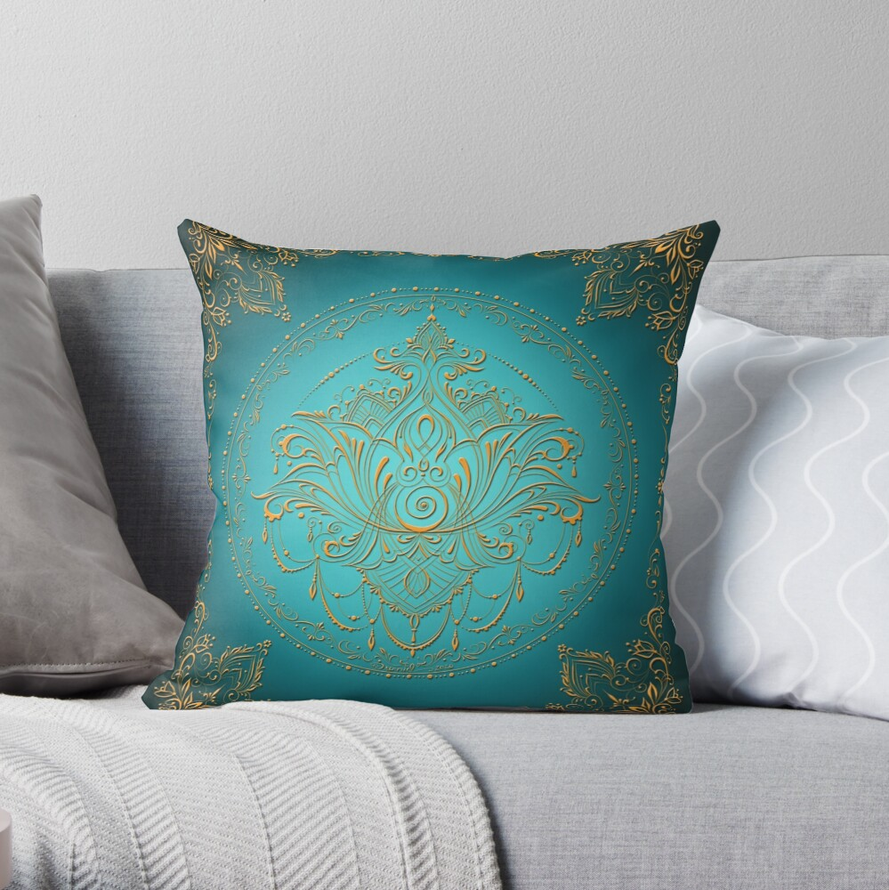 Lotus Goddess in Teal Throw Pillow