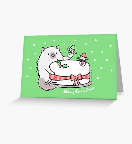 Himalayan Kitty Cat Decorating Christmas Cake Greeting Card