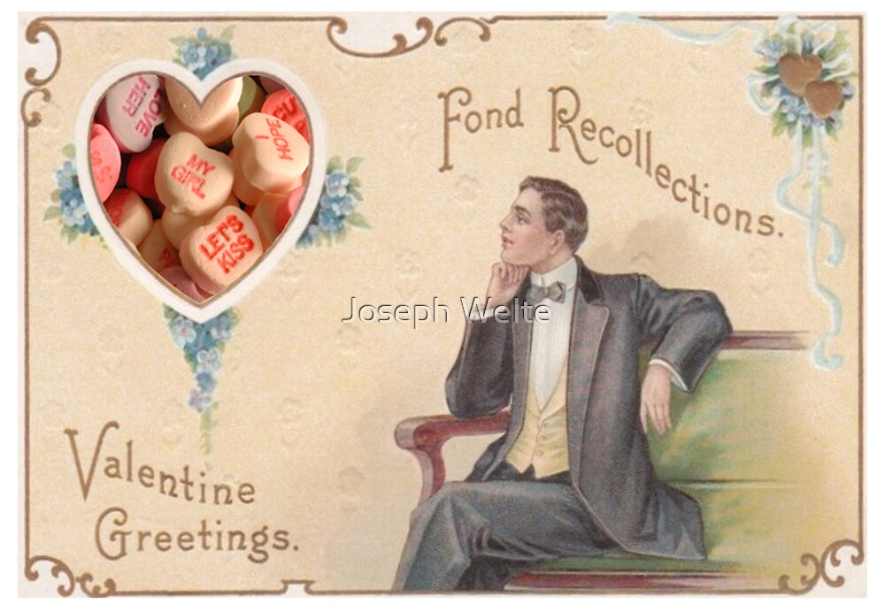 Candy Heart Recollections (Vintage Valentine Greeting Collage) by Joseph Welte