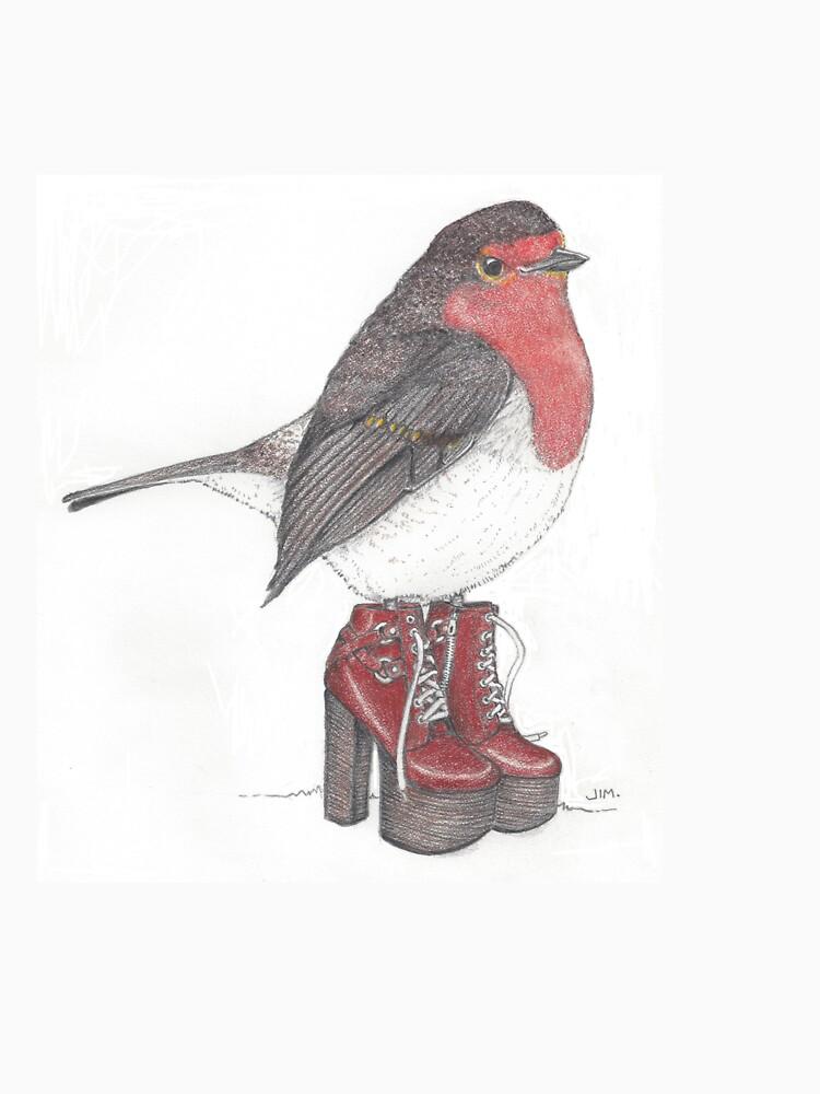 UK robin in platform shoes by JimsBirds