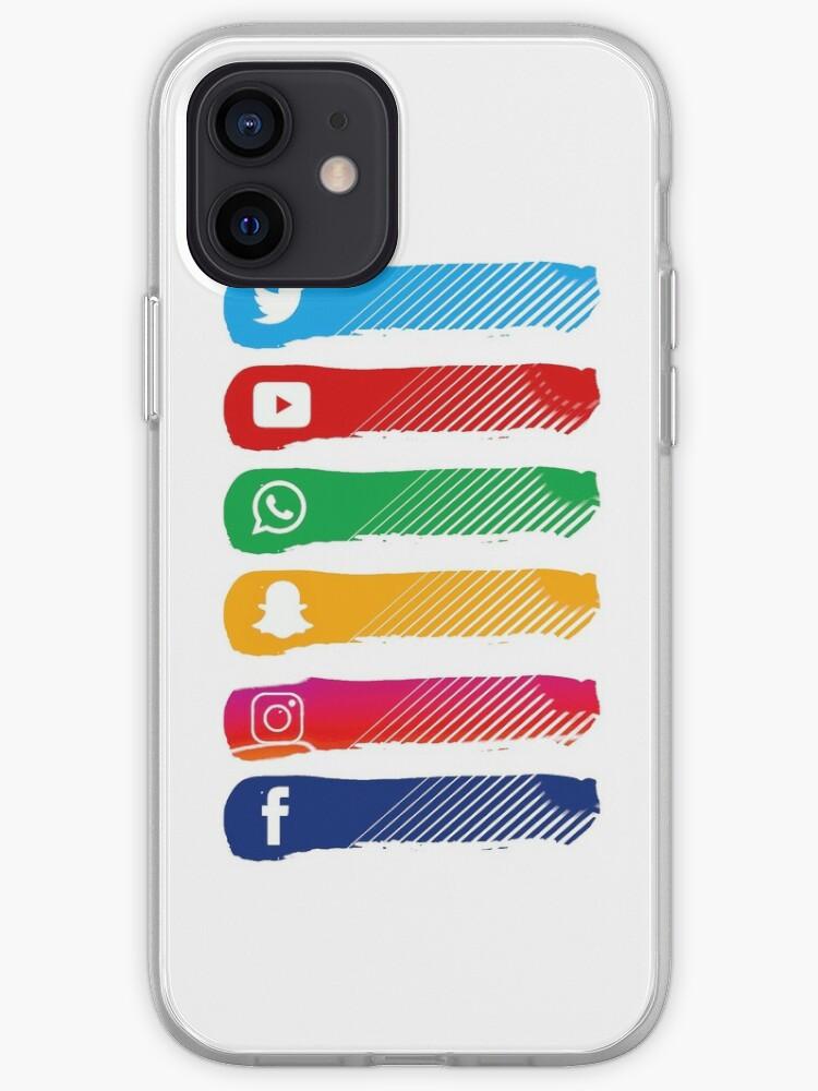 facebook, twitter, whatsapp, instagram, snapchat, youtube, smartphone, internet   Coque iPhone