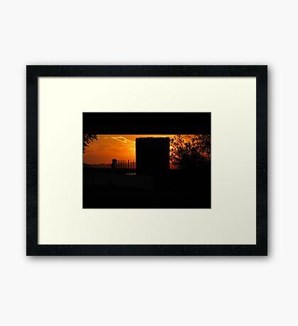 Red Night-Under I.B. Perrine Bridge in Twin Falls, ID, USA Framed Print