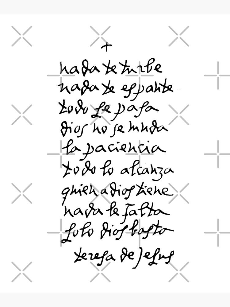 Handwritten St Teresa of Avila // Nada Te Turbe by CarolineTherese