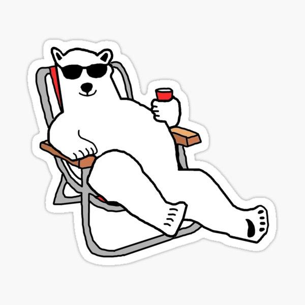 Party Polar Bear Lounging Sticker