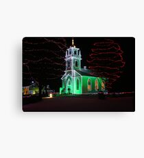 Church Decorated for Christmas Canvas Print
