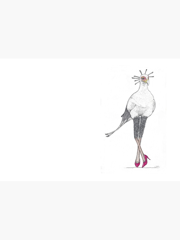 Secretary bird in red high heels by JimsBirds