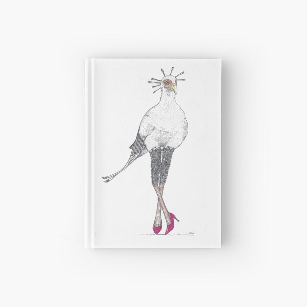 Secretary bird in red high heels Hardcover Journal