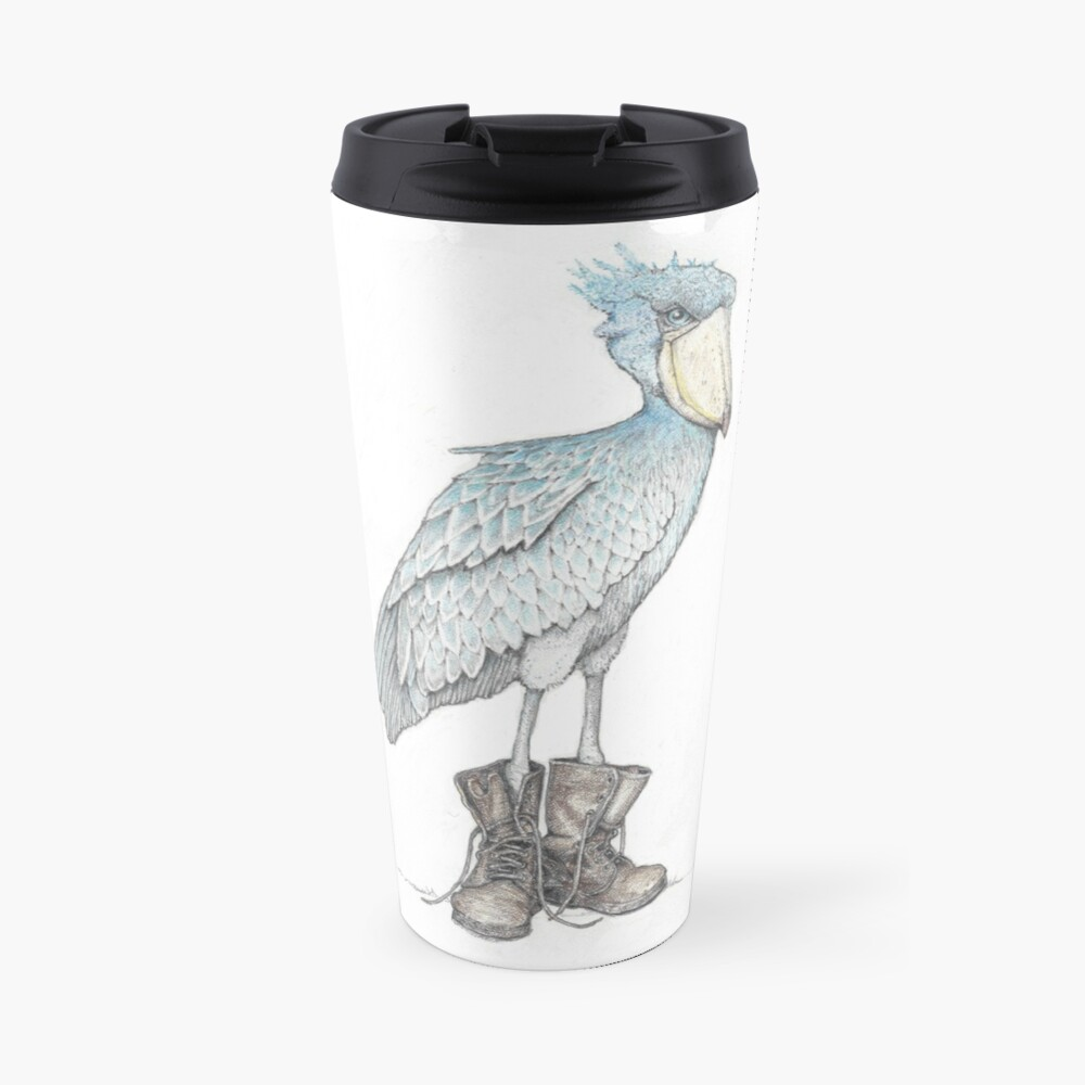 Shoebill in work boots Travel Mug