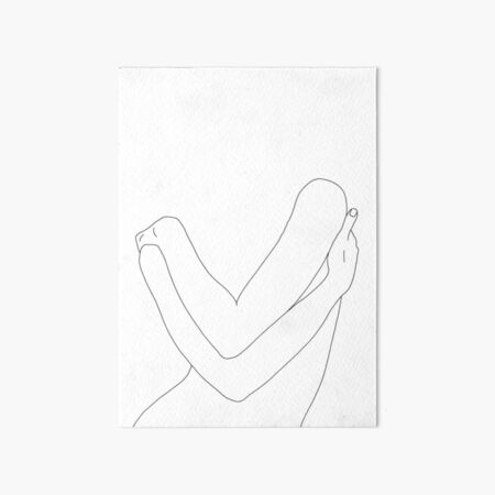 Crossed arms line drawing illustration - Alexa Art Board Print