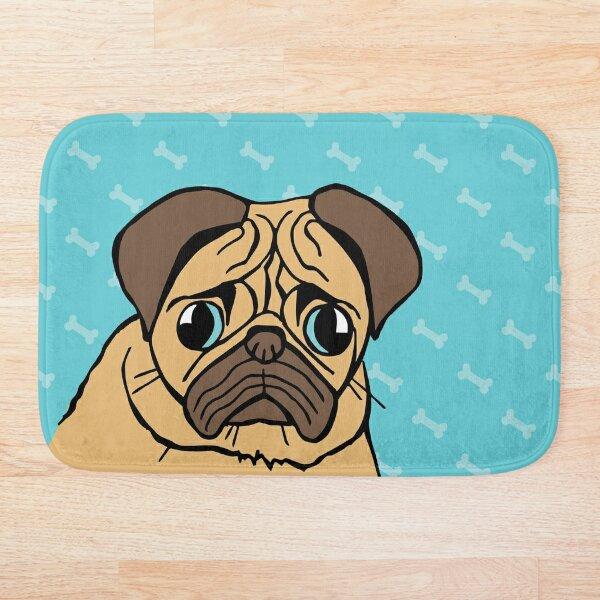 Worried Pug Bath Mat