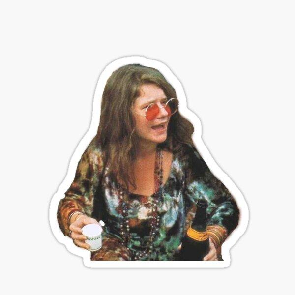 Janis Joplin en Woodstock toma una copa Pegatina