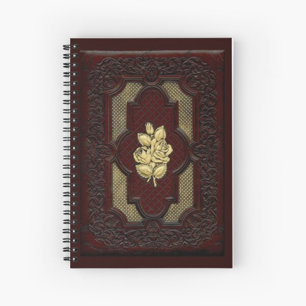 Tooled Leather and Ivory Rose Cover Spiral Notebook