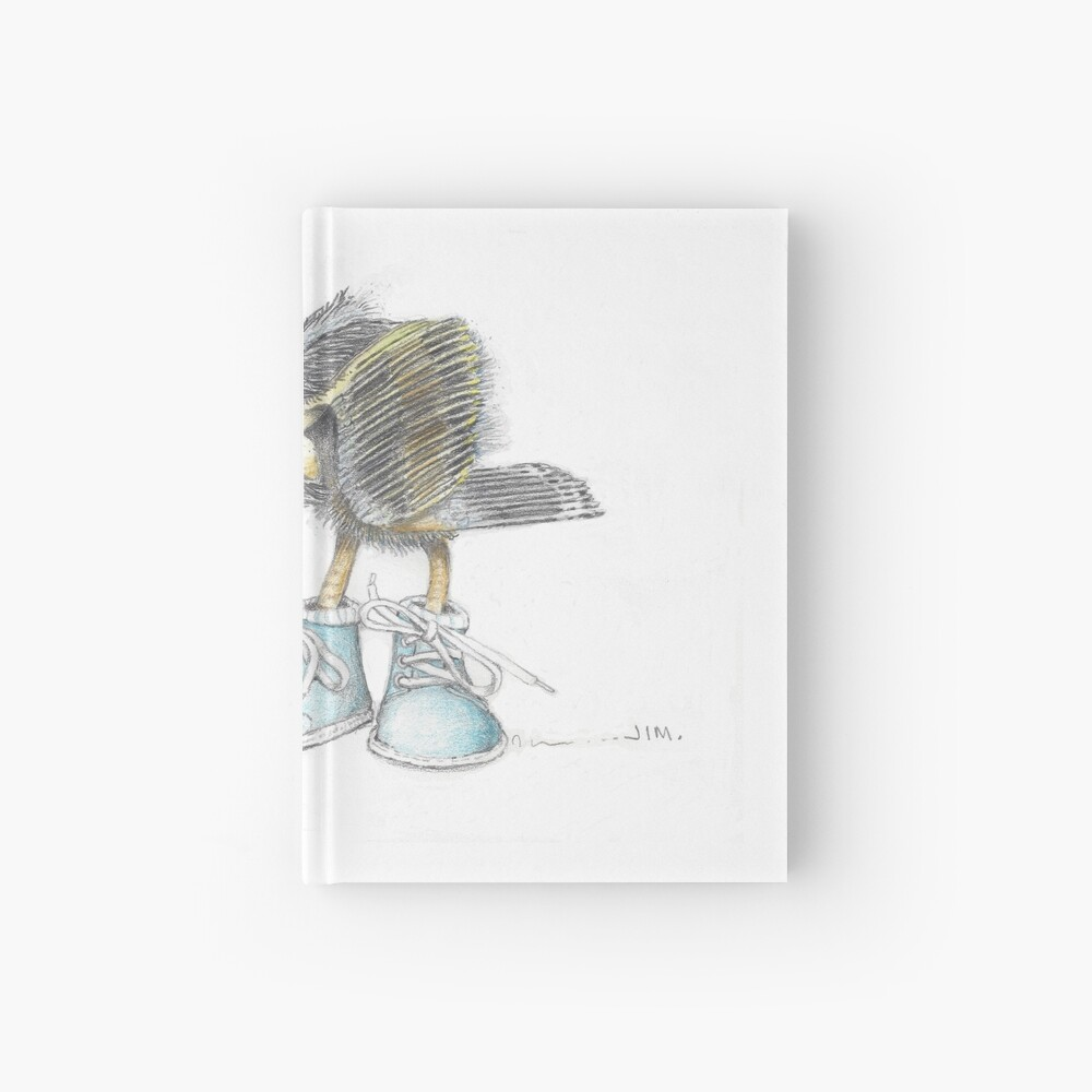 Baby blue heron in baby boots Hardcover Journal