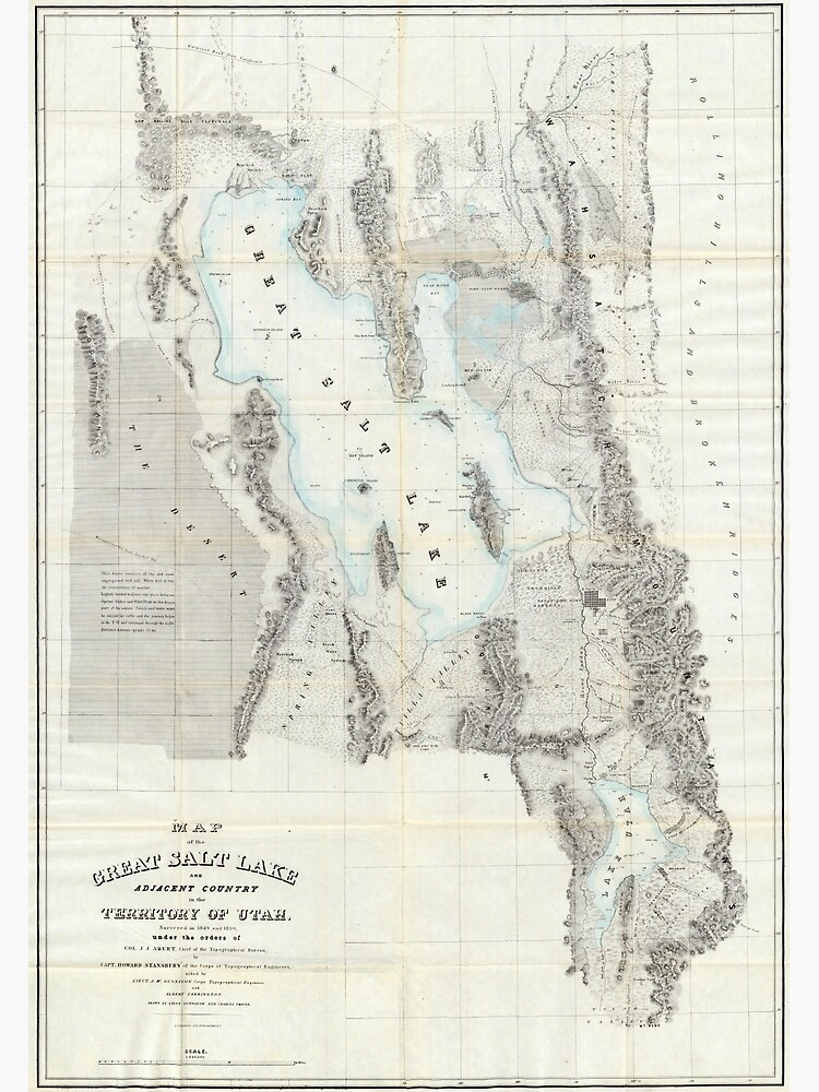 Vintage Map of The Great Salt Lake (1852) by BravuraMedia
