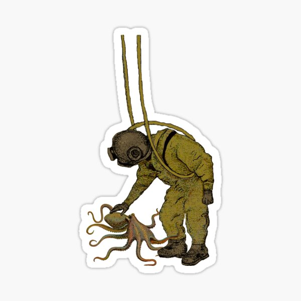 Vintage Diver with Diving Helmet and an Octopus Sticker