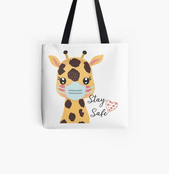 Giraffe Orange Circle Grocery Travel Reusable Tote Bag