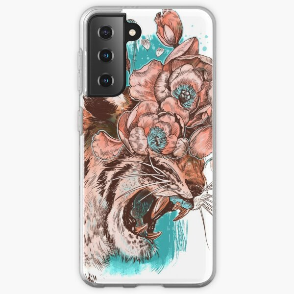 Pink coral tiger growling with peonies on a turquoise background Samsung Galaxy Soft Case