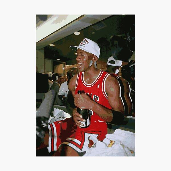 Michael Jordan Championship Celebration Cigar and Champagne Photographic Print