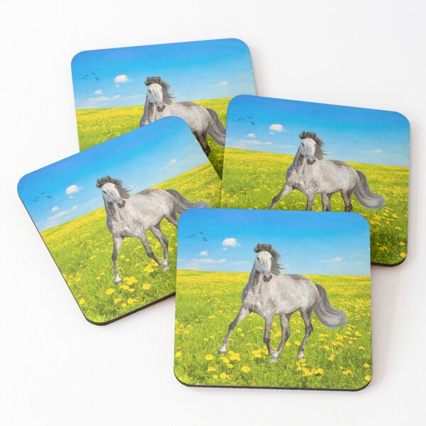 Dapple Gray Horse in Spring Field Coasters (Set of 4)
