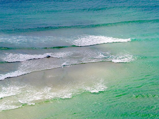 Sea with waves, Porthcurno, Cornwall, UK by Robert Down