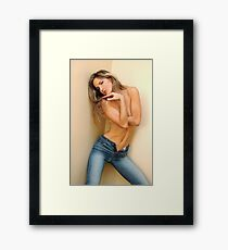 Fashion photo of young topless sensual woman in jeans Framed Print