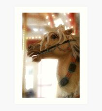 Carousel horse, digital artwork. Art Print