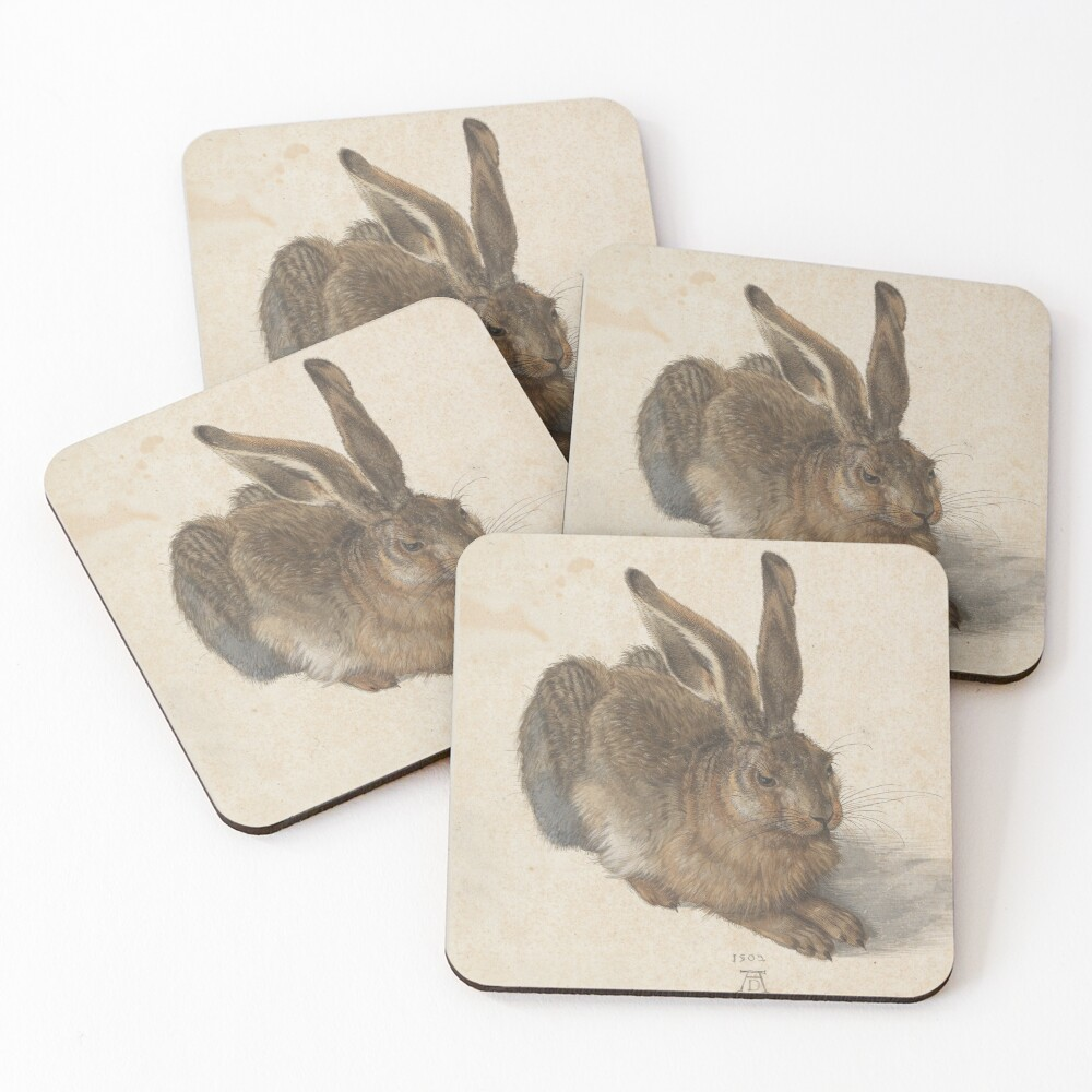 Young Hare  by Albrecht Dürer Coasters (Set of 4)