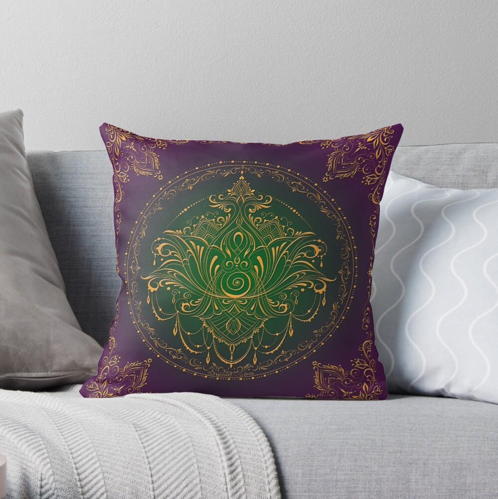 Lotus Goddess in Peacock Purple Throw Pillow