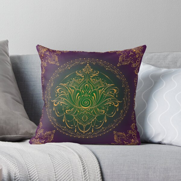 Lotus Goddess in Peacock Purple Throw Pillow