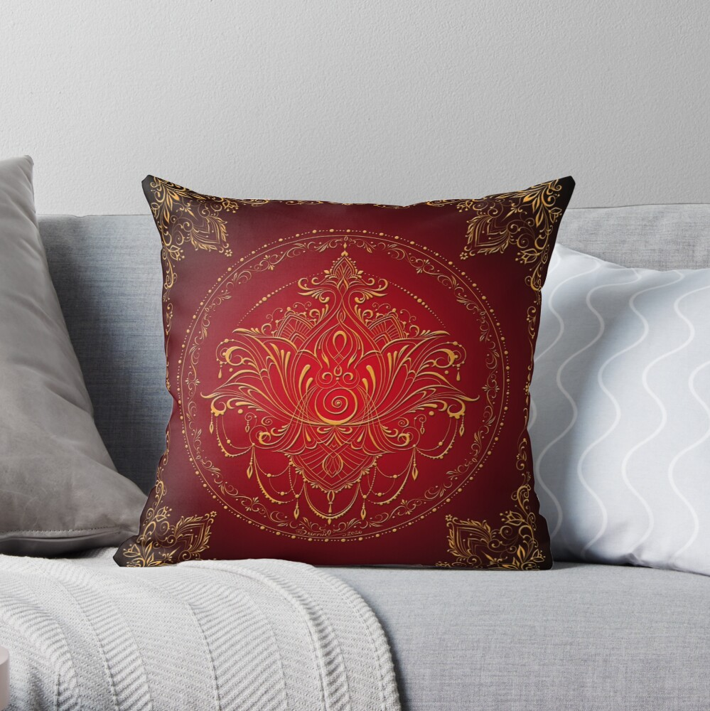 Lotus Goddess in Rich Red and Black Throw Pillow